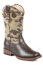 Roper Boots Kids Brown Faux Leather Wide Square Toe Boys Camo Cowboy