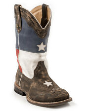 Roper Kids Boys Cowboy Boots Brown Sq Toe Texas Flag Stars Sanded Leather