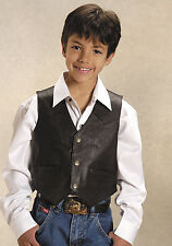 Roper Boys Brown Lamb Nappa Leather Solid Snap Button Classic Western Vest