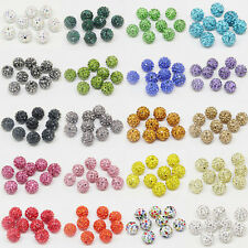 100Pcs Czech Crystal Rhinestone Pave Clay Disco Ball Round Spacer Beads DIY 10MM
