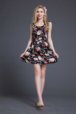 Womens Fashion Floral Print Sleeveless Casual Summer Day Office Chiffon Dress