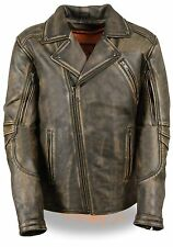 Mens Motorcycle Premium Leather Blk Distressed Brn police style leather jacket