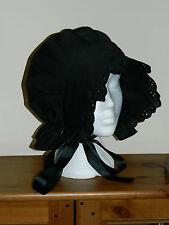 LADIES, BLACK VICTORIAN, EDWARDIAN, COLONIAL, PRAIRIE BONNET, COIF HAT
