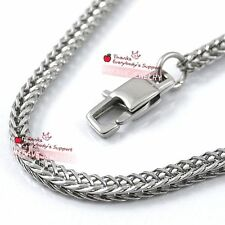 2.8mm 4mm 316L Stainless Steel Necklace Chain Fox Tail Franco Lobster Claw Clasp