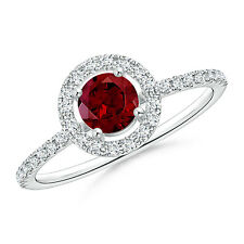 Round Solitaire Garnet Diamond Halo Engagement Ring 14k White Gold