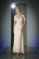 Long Mother of Bride Dresses Short Sleeve Beaded Chiffon Plus Size Formal Gown