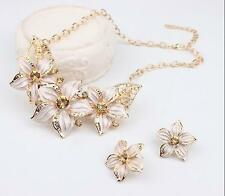 Earrings New Necklace Statement Hot Woman Charm Crystal Flower Jewelry Set