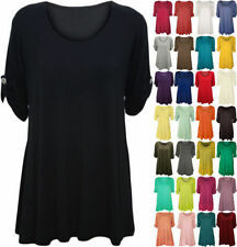 New Plus Size Womens Plain Swing Flared Ladies Short Sleeve Scoop Neck Top