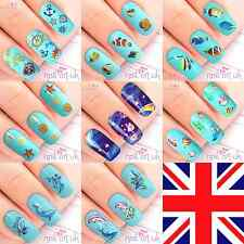 3D Nail Art Stickers & Water Decals Tattoos - Nautical Beach Dolphin Shell Fish