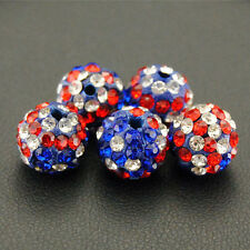 American US Flag Style Micro Pave Disco Crystal Shamballa Beads Bracelet Spacer