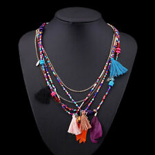 Vintage Feathers Women Pendant Choker Statement Collar Bib Necklace Chain CHI