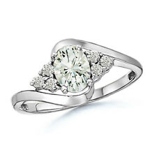 Oval Moissanite Solitaire Engagement Ring with Accents in 14k White Gold Size 6