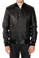 DROMe New Man Black Bomber Leather Jacket Made in Italy NWT