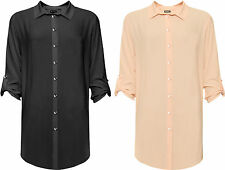 Womens Plus Side Slit Shirt Ladies Long Sleeve Button Collar Stretch Top 16-28