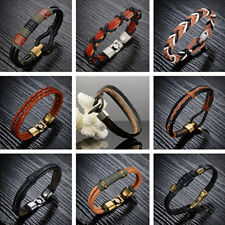 1x Unisex Wristband Genuine Leather Bracelet Charm Stainless Steel Clasp 0YT