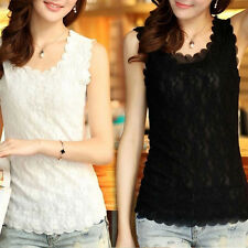 Hot Women Sexy Lace Solid Slim Casual Tank Top Vest Sleeveless T-Shirt  Blouse