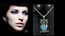 Elegant Bronze BIG Eye Owl Crystal Pendant Necklace Long Chain Women's Jewelry