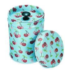 Round Double Cover Food Trinkets Storage Tin Canister Box Tea Pot Candy Storage