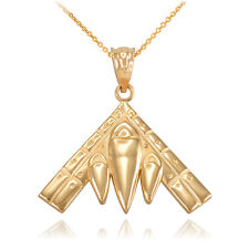 10k Yellow Gold Military Aircraft B-2 Spirit Stealth Bomber Pendant Necklace