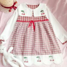 Japanese Vintage Mori Girl Sweet Preppy Style Cherry Embroidery Plaid Slim Dress
