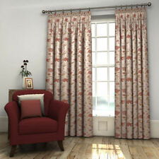Pair Ivory Cream Natural FULLY LINED Floral Woven Jacquard Curtains in 7 Sizes
