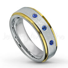 0.21ctw Blue Sapphire 3-Stone Tungsten Ring, September Birthstone Ring 6mm #330