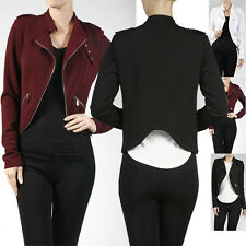 Women Casual Long Sleeve Curved Hem Zipper Biker Light Liverpool Jacket Outwear