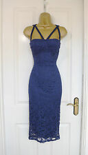 Navy Floral Lace Midi Wiggle Pencil Bodycon Evening Party Dress 8 10 12 14 £65