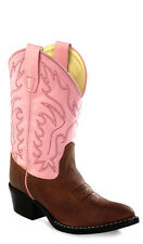 Old West Pink Childrens Girls Leather Narrow J Toe Cowboy Western Boots