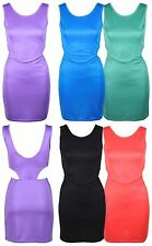NEW LADIES PONTE CUT OUT OPEN SIDE WOMENS FITTED BODYCON STRETCH MINI DRESS 8-14
