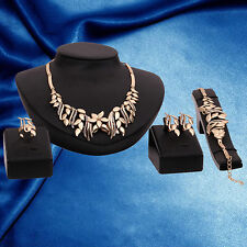 Luxury Women's Rhinestone Bracelet Earrings Ring Necklace Jewelry Set Perfect