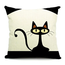Cat And Fish Cushion Covers Cotton Linen Throw Pillow Case