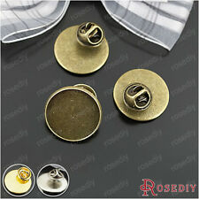 10PCS with Stopper inside:20MM Brass Round Brooch Base Pins Accessories 25202