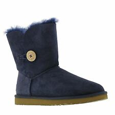 Ugg Australia W Bailey Button Navy Sheepskin Womens Boots