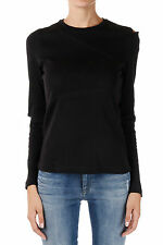 DIESEL New Woman black Long sleeve Round Neck Tee T-shirt Jersey Cotton NWT
