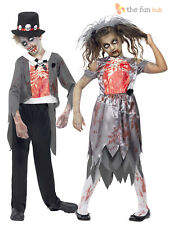 Age 4-14 Kids Zombie Bride Groom Costume Child Boys Girls Halloween Fancy Dress