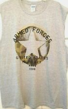 Mens Muscle T-shirt Gray US Armed Forces 0299 Crew Neck Gildan NWT 2XL XL L M S