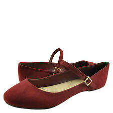 Women's Shoes Bamboo Chantel 30V Casual Ballet Mary Jane Flats Burgundy *New*