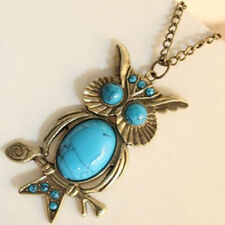 Charm Vintage Turquoise Pendant Chain Necklace Owl Crystal Big Eyes Fad Jewelry