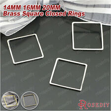 50PCS 14MM 16MM 20MM Brss Square Closed Rings Jewelry Findings Accessories 25769