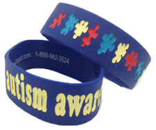 "ADULT YOUTH Sz Autism Awareness THICK 1"" Puzzle Wristband Silicone Bracelet WIDE"