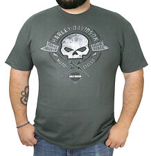 Harley-Davidson Mens Tattered Wild Willie G Skull Grey Short Sleeve T-Shirt