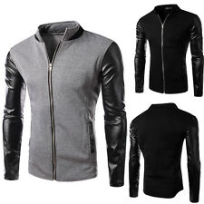 Fashion Man PU Leather Mens Slim Fit Baseball Blazer Jackets Outerwear Coat Tops