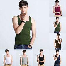 Mens White Tank Top Cotton A-Shirt Wife Beater Ribbed Lot Pack Undershirt New