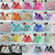 """100pcs Strong Organza Pouch 3.5x4.7"""" 9x12cm Wedding Favor Gift Candy Bag Colors"""
