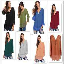 Sexy Women Ruched V-Neck Lace Detail Button Up Long Sleeve Blouse Top Shirt