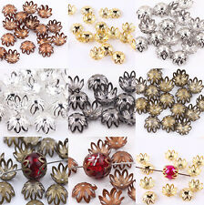 Wholesale 100Pcs Silver/Golden/Bronze/Black Plated Flower Bead Caps DIY 12mm