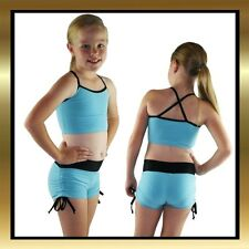 Blue with Black Edging Tie Side Shorts & Matching Top Childs Dance Costume