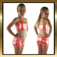Orange Silver Sparkle Childrens Dance Shorts and Matching Top
