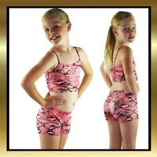 Red Snakeskin Print Kids Dance Costume- Dance Shorts & Matching Dance Crop Top